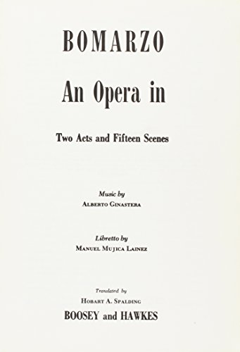 9780051150312: Bomarzo (Opera in 2 acts and 15 scenes)