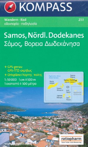 9780055261090: Samos 1:50,000 & Icaria, Thimena, Fourni, Patmos, Lipsi and Arkoi Hiking Map, waterproof KOMPASS