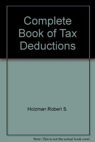 9780060153267: Complete Book of Tax Deductions