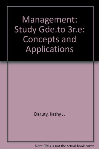 9780060414726: Management: Study Gde.to 3r.e: Concepts and Applications