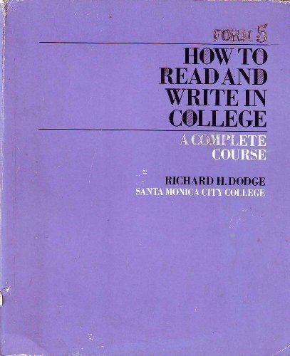 9780060416645: How to read and write in college;: A complete course