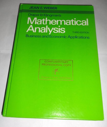Title: Mathematical analysis Business and economic applic: Weber, Jean E