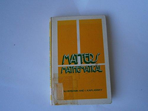 9780060428037: Matters mathematical