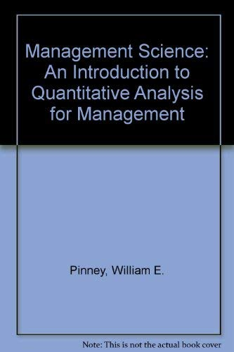 9780060452223: Management Science: An Introduction to Quantitative Analysis for Management