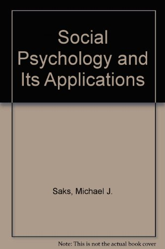 9780060456986: Social Psychology and Its Applications