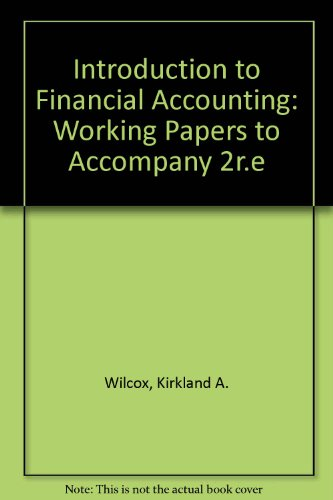 9780060471040: Introduction to Financial Accounting: Working Papers to Accompany 2r.e
