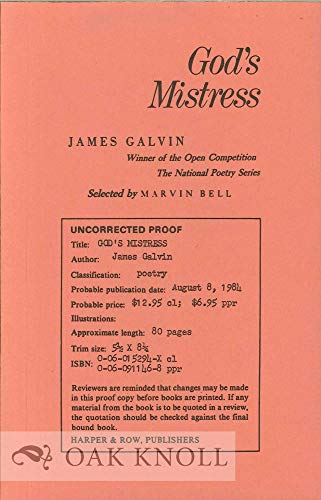 God's Mistress (Harper Colophon Books) Galvin, James