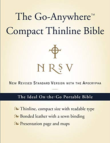 9780061827211: NRSV Go-Anywhere Compact Thinline Bible with the Apocrypha (Bonded Leather, Navy