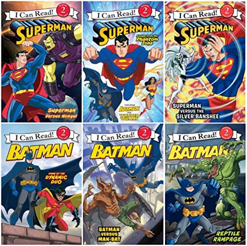 9780062274878: I Can Read Superman and Batman, Level 2 - 6 Book Set (Superman Escape from the Phantom Zone, Superman Versus Mongui, SupermanVersus the Silver Banshee, Batman Versus Man Bat, Batman Reptile Rampage, Batman Dawn of the Dyanmic Duo)