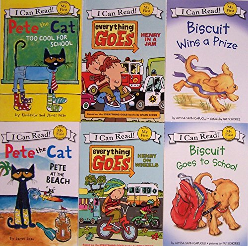 9780062347282: Pete the Cat Too Cool for School, Pete at the Beach, Biscuit Goes to School, Biscuit Wins a Prize, and Everything Goes Henry on Wheels and Henry in a Jam I Can Read 6 Book Set