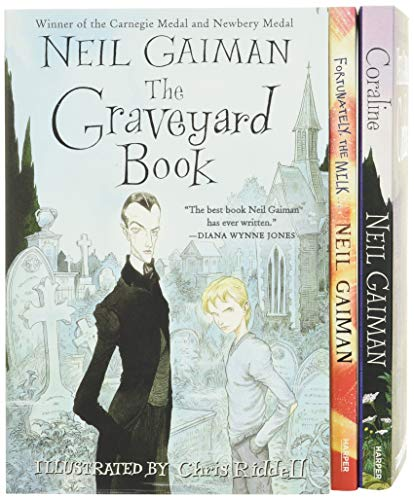 9780062379825: Neil Gaiman/Chris Riddell 3-Book Box Set: Coraline; The Graveyard Book; Fortunately, the Milk