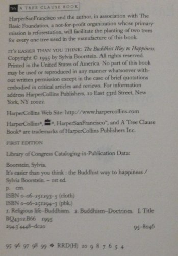 9780062512932: It's Easier Than You Think: The Buddhist Way to Happiness