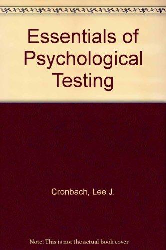 9780063502499: Essentials of Psychological Testing