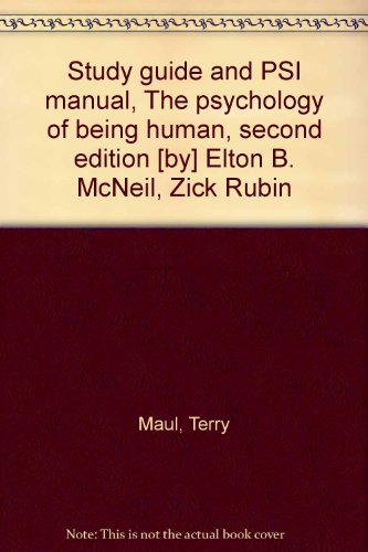 9780063854703: Study guide and PSI manual, The psychology of being human, second edition [by] Elton B. McNeil, Zick Rubin