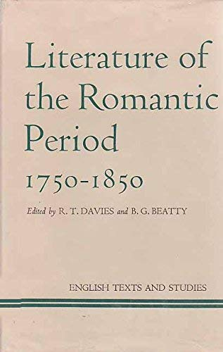 9780064916141: Literature of the Romantic period, 1750-1850 (English texts and studies)