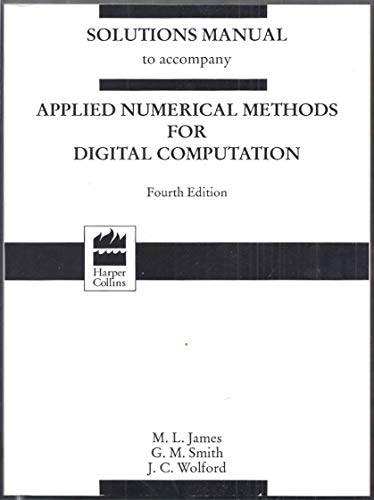 9780065004953: Solutions manual to accompany Applied numerical methods for digital computation