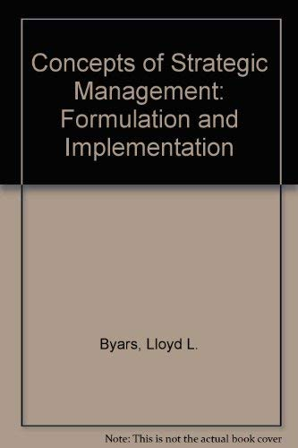 9780065006735: Concepts of Strategic Management: Formulation and Implementation