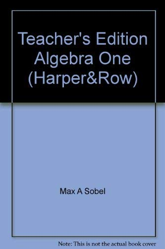 9780065442007: Teacher's Edition Algebra One (Harper&Row)