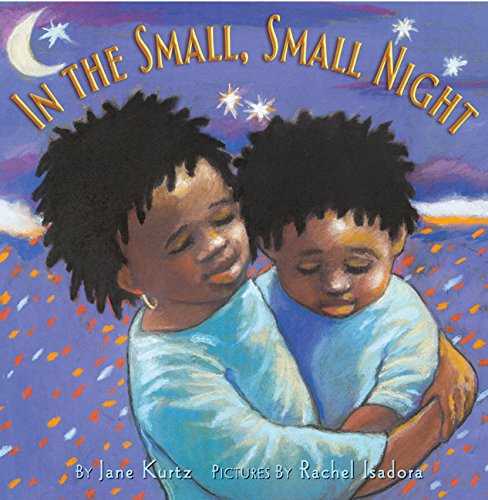 In the Small, Small Night 9780066238135 In the middle of the night the world can seem huge andfrightening, especially when you've just moved far from home. On Abena and Kofi's first night in America, it is late and it is dark and they are up worrying. What if a giant lizard or a slender-snouted crocodile crawled into their suitcases? What if the people in their new school laugh at them? What if they forget Grandmother and their cousins, now that they are an ocean away? But Abena knows a secret to help them. It is a secret that can make the world and the night seem small again. She reaches for her new flashlight and turns it on. She says to her little brother, Kofi,  Pretend this is the moon. Close your eyes.  And then she begins ...