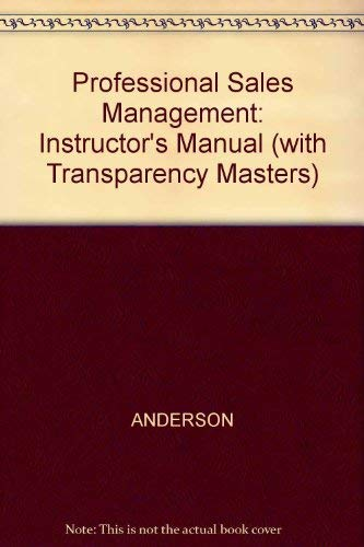 9780070016880: Professional Sales Management: Instructor's Manual (with Transparency Masters)