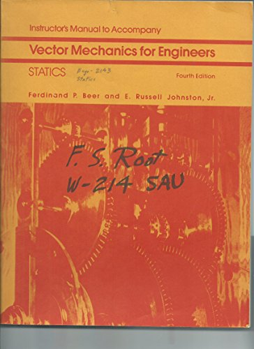 9780070044333: Instructor's Manual to Accompany: Vector Mechanics for Engineers