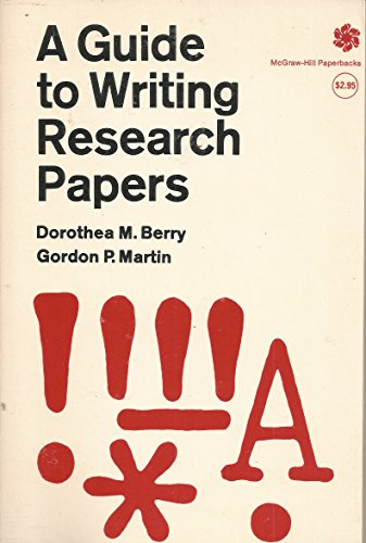 9780070050297: A Guide to Writing Research Papers