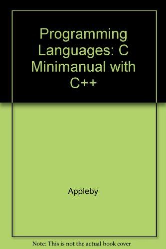 9780070053205: Programming Languages: C Minimanual with C++