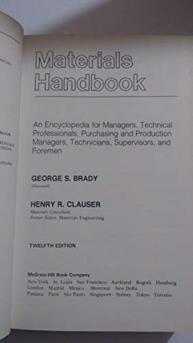Materials Handbook: An encyclopedia for managers, technical professionals, purchasing and ...