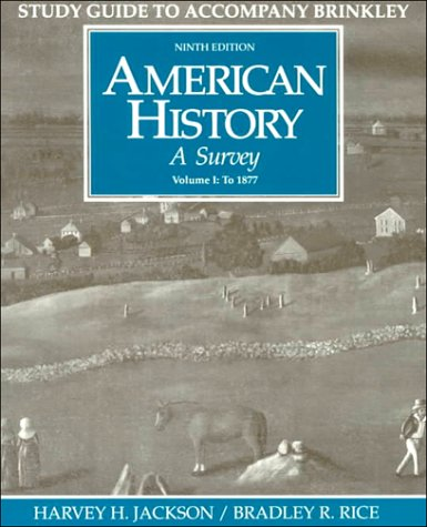 9780070079588: American History: A Survey, Vol. 1 (Student Study Guide, 9th Edition)