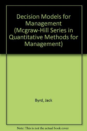 9780070095113: Decision Models for Management (Mcgraw-Hill Series in Quantitative Methods for Management)
