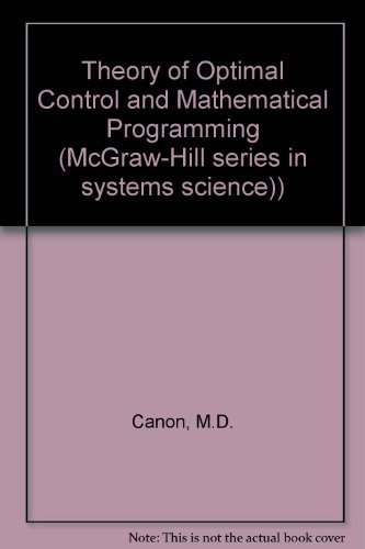 9780070097605: Theory of Optimal Control and Mathematical Programming