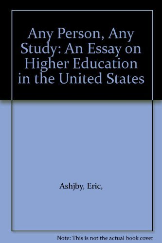 9780070100220: Any person, any study;: An essay on higher education in the United States