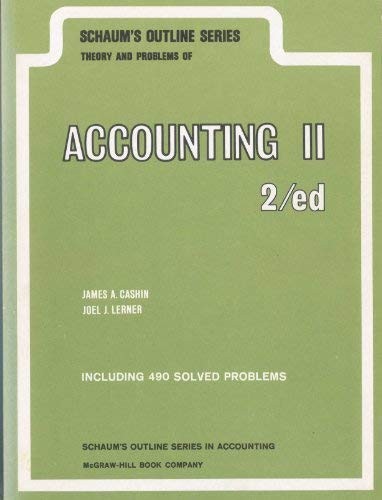 9780070102521: Schaum's outline of theory and problems of accounting II (Schaum's outline series in accounting) (Pt. 2)