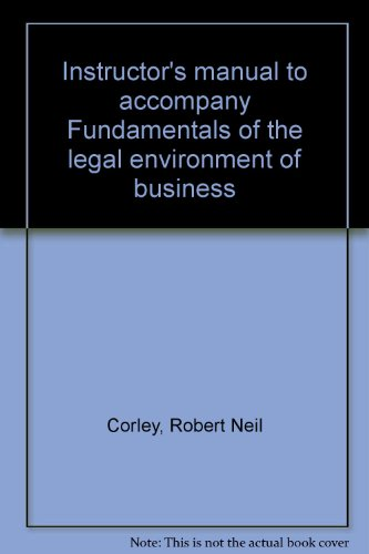 9780070132474: Instructor's manual to accompany Fundamentals of the legal environment of business