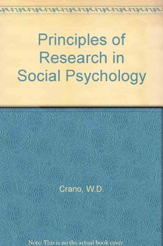 9780070134553: Principles of Research in Social Psychology