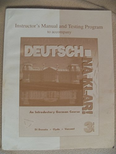 9780070137134: Instructor's Manual and Testing Program to Accompany Deutsch: Na Klar! An Introductory German Course