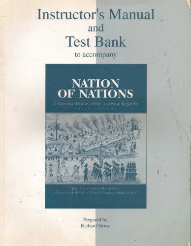 9780070157958: Instructor's Manual and Test Bank to Accompany Nation of Nations 3rd edition a Narrative History of the American Republic