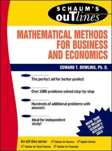 9780070176973: Schaum's Outline of Mathematical Methods for Business and Economics