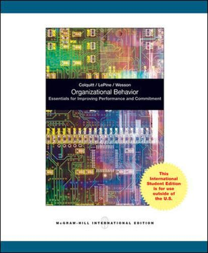 9780070183506: Organizational Behavior: Essentials for Improving Performance and Commitment