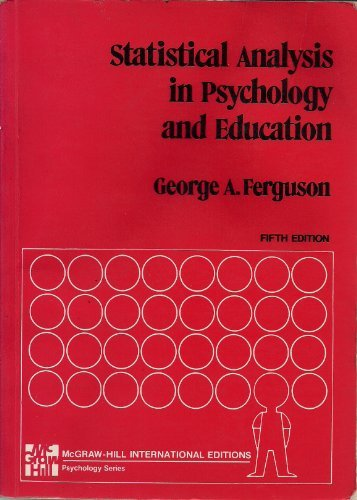 9780070204829: Statistical analysis in psychology and education (McGraw-Hill series in psychology)
