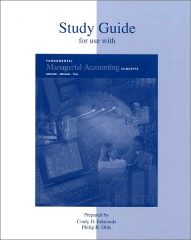 9780070214422: Study Guide for use with Fundamental  Managerial Accounting Concepts