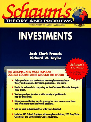 9780070218079: Schaum's Outline of Investments, Including 396 Solved Problems