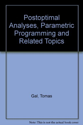 9780070226791: Postoptimal Analyses, Parametric Programming and Related Topics