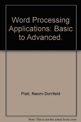 9780070233638: Word Processing Applications: Basic to Advanced