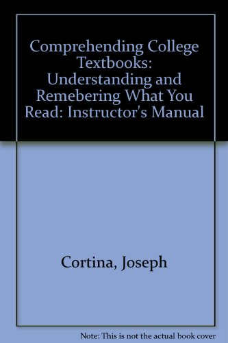 9780070238336: Comprehending College Textbooks: Understanding and Remebering What You Read: Instructor's Manual