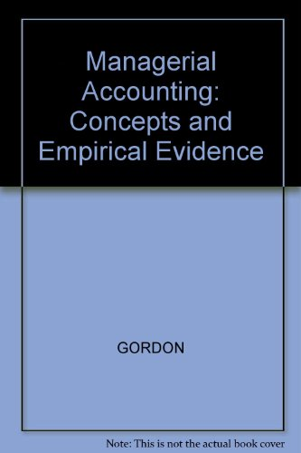 9780070240896: Managerial Accounting: Concepts and Empirical Evidence