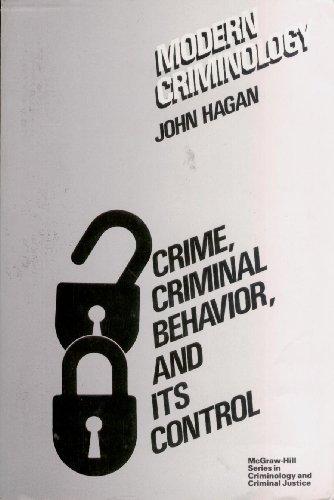 9780070254503: Modern Criminology: Crime, Criminal Behavior and Its Control