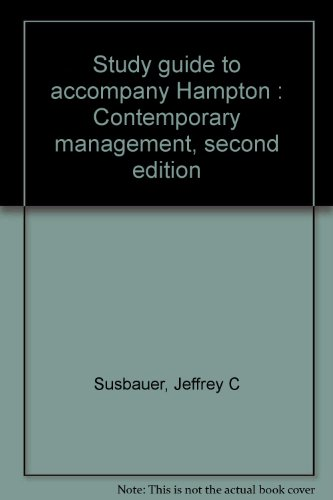 9780070259379: Study guide to accompany Hampton : Contemporary management, second edition