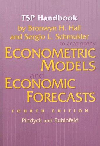 9780070259409: TSP Handbook to Accompany Econometric Models and Economic Forecasts by Pindyck and Rubenfeld