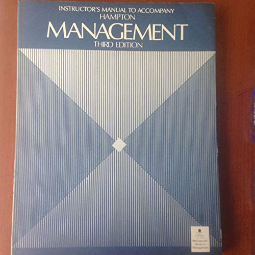 9780070259430: Instructor's manual to accompany Hampton, Management, third edition (McGraw-Hill series in management)